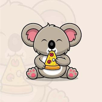 Koala mignon mangeant une bande dessinée de pizza