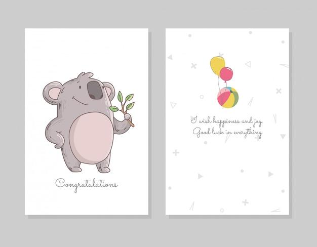 Koala mignon mangeant des eucalyptus. modèle d'affiche doodle dessiné à la main avec des ballons à air. personnage ours mignon de bande dessinée