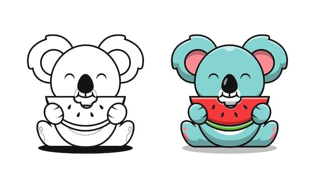 Koala mignon mangeant des pages de coloriage de dessin animé de pastèque pour les enfants
