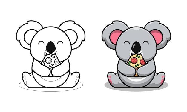 Koala mignon mangeant des pages de coloriage de dessin animé de pizza pour des enfants
