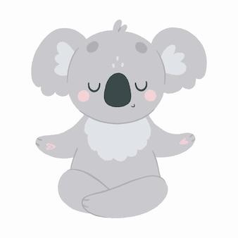Le koala mignon médite dans une position de lotus, yoga d'animaux