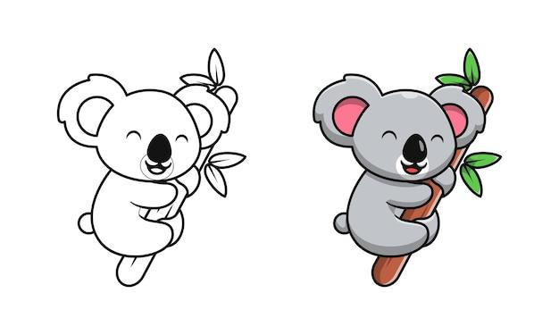 Koala mignon sur des pages de coloriage de dessin animé en bois pour les enfants