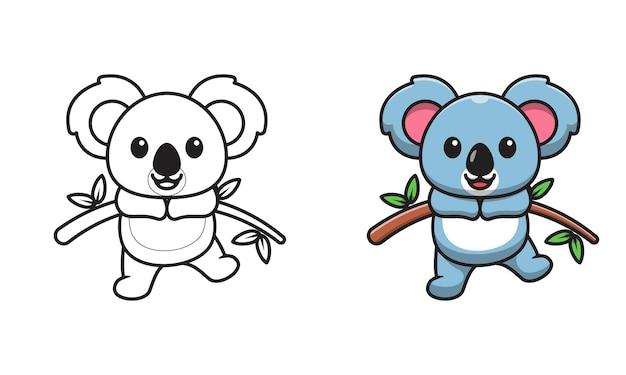 Koala mignon sur des pages de coloriage de dessin animé en bois