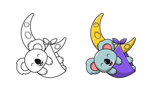Koala mignon sur des pages de coloriage de dessin animé de lune pour des enfants