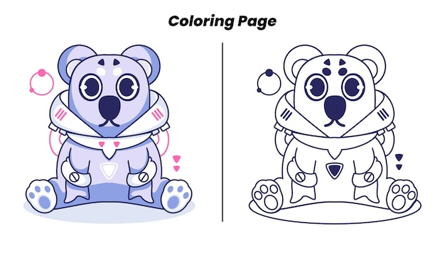 Koala mignon avec des pages à colorier