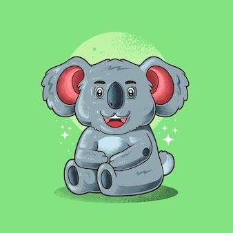 Koala mignon souriant vecteur d'illustration de style grunge