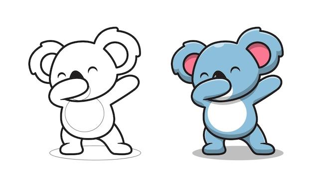 Koala mignon tamponne des pages de coloriage de dessin animé