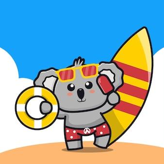 Koala mignon tenant un anneau de bain de crème glacée et une illustration de dessin animé de planche de surf