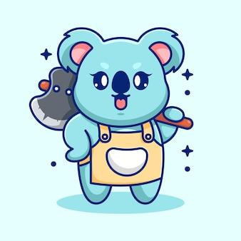 Koala mignon tenant une caricature de hache