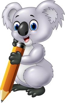 Koala mignon tenant un crayon isolé sur fond blanc