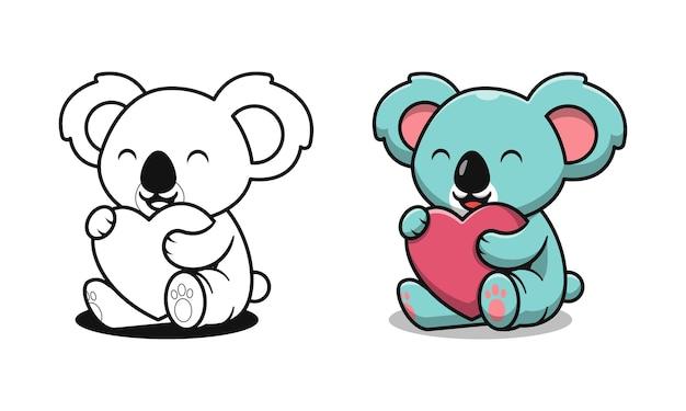 Koala mignon tenant des pages de coloriage de dessin animé d'amour pour les enfants