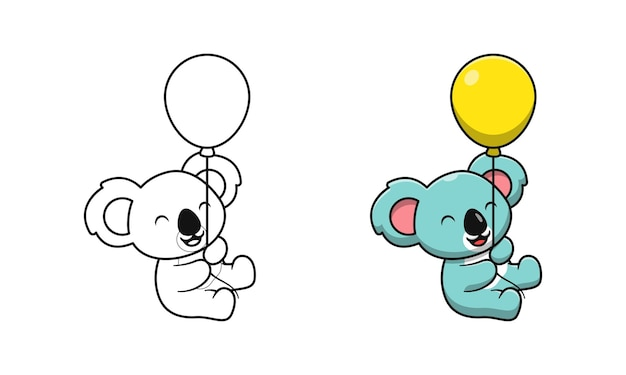 Koala mignon tenant des pages de coloriage de dessin animé de ballons pour les enfants