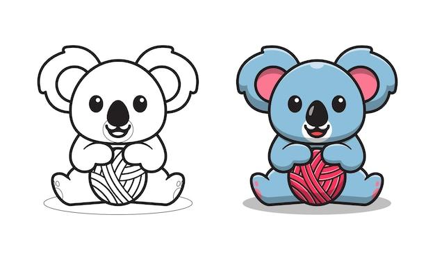 Koala mignon tenant une pelote de laine coloriage de dessin animé