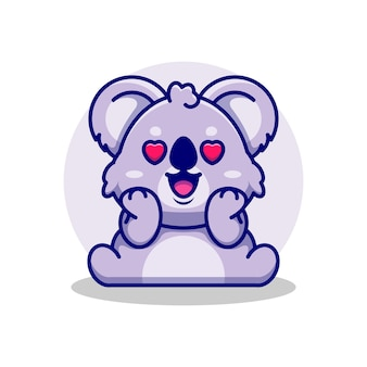 Koala mignon tombant amoureux de dessin animé
