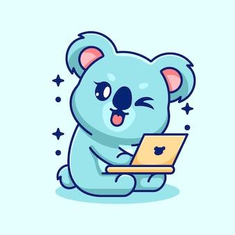 Koala mignon travaillant sur un dessin animé d'ordinateur portable