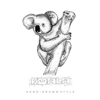 Koala perche sur un arbre dans un style dessiné à la main, l'illustration animale semble réaliste, abstrait en noir et blanc