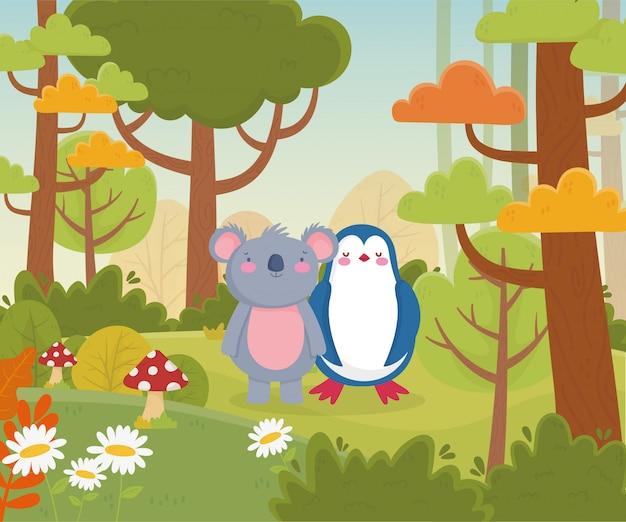 Koala et pingouin fleurs et forêt