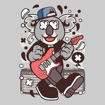 Koala rockstar cartoon