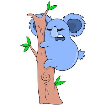 Koalas dormant en hibernation se blottissant dans l'arbre. icône de griffonnage kawaii.