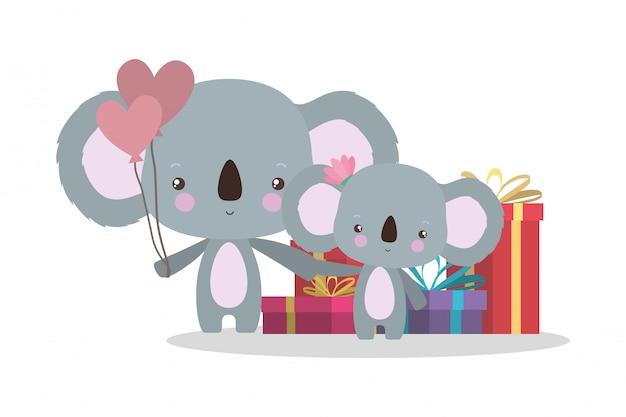 Koalas mignons avec des cadeaux