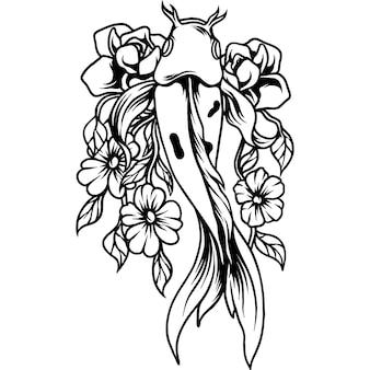 Koi poisson avec des fleurs silhouette