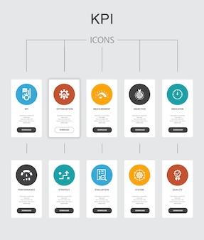 Kpi infographic 10 étapes ui design.optimisation, objectif, mesure, indicateurs simples icônes