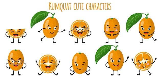 Kumquat agrumes mignons personnages gais drôles avec différentes poses et émotions. collection de nourriture de désintoxication antioxydante de vitamine naturelle. illustration isolée de dessin animé.