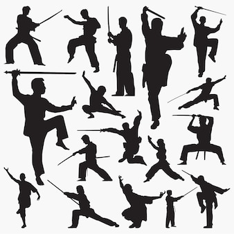 Kung fu silhouettes
