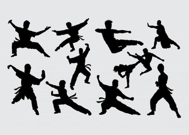 Kungfu sport silhouette d'arts martiaux