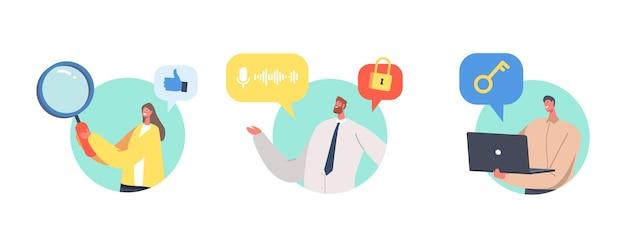 Kyc, connaissez votre concept client, vérification commerciale de l'identité des clients et évaluation de leur adéquation, petits personnages d'affaires apprenant le profil du client. illustration vectorielle de gens de dessin animé
