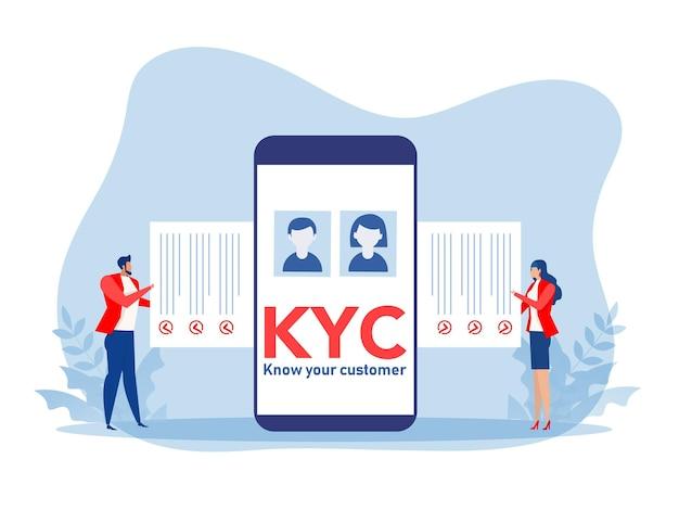 Kyc ou connaître votre client avec une entreprise vérifiant l'identité de son concept de clients