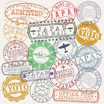 Kyoto japon ensemble de dessins de timbres de voyage et d'affaires
