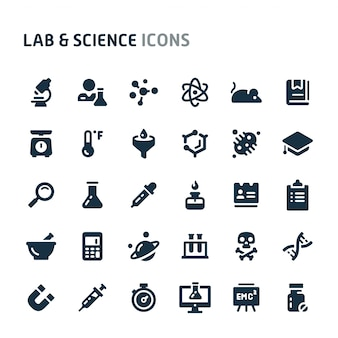 Lab & science icon set. série d'icônes fillio black.