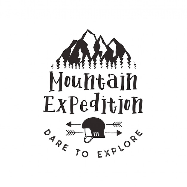 Label d'expédition en montagne avec des symboles d'escalade et un caractère typographique - osez explorer. emblème de logo style typographie vintage isolé sur blanc