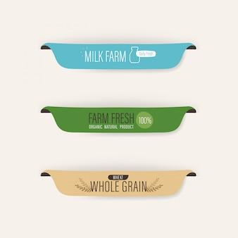Label naturel et bannière bio fraîche lait et blé.