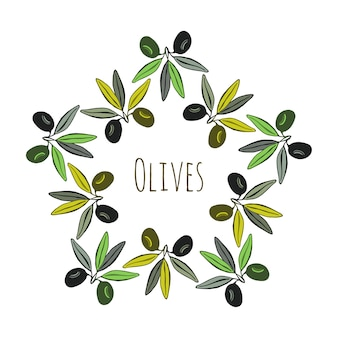 Label olives. décoration d'olives dessinées à la main. conception de vecteur.