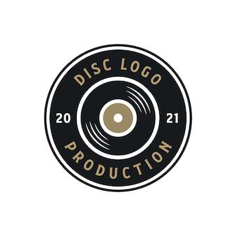 Label de production de logo de disque classique circle