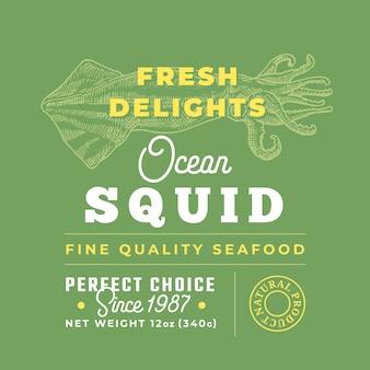 Label de qualité premium délices de fruits de mer frais. disposition de conception d'emballage.