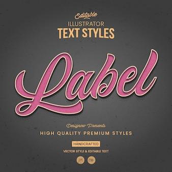 Label vintage illustrator style de texte