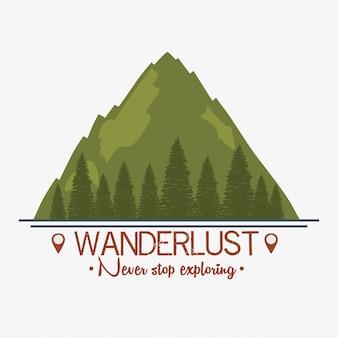 Label wanderlust avec paysage et forêt