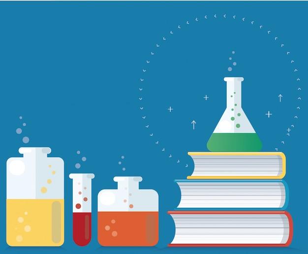 Laboratoire coloré et vecteur de livres