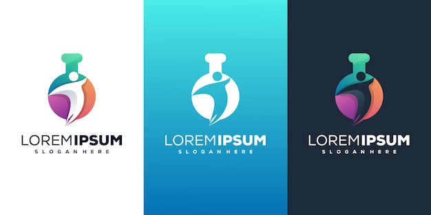 Laboratoire avec conception de logo moderne humain