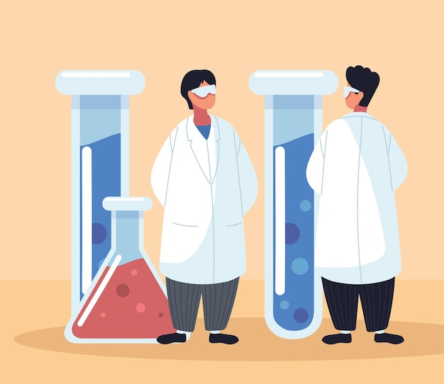 Laboratoire de flacons chimiques de médecins masculins