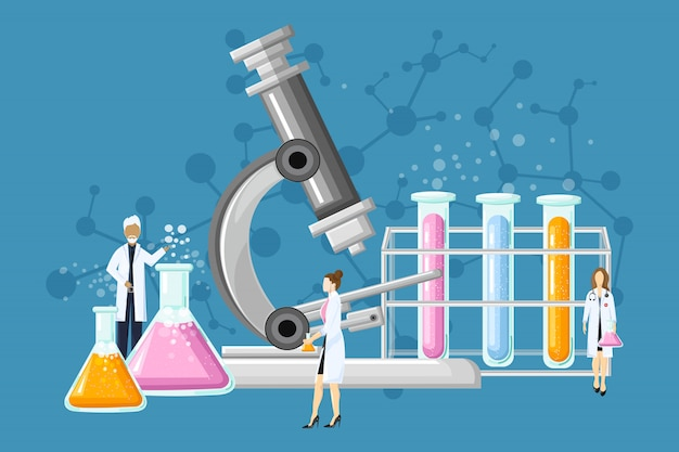 Laboratoire médical avec tubes en verre illustration