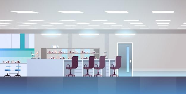 Laboratoire de recherche chimique vide avec des meubles