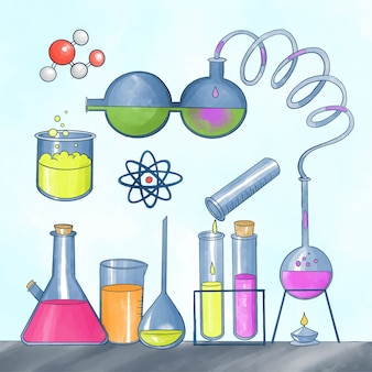 Laboratoire scientifique aquarelle