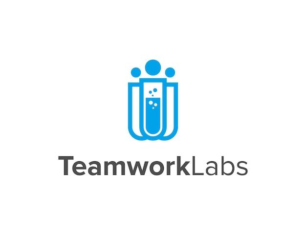 Laboratoire de travail d'équipe conception de logo moderne géométrique créatif simple et élégant