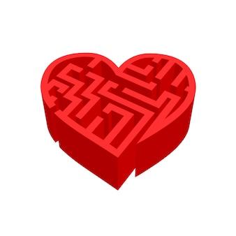 Labyrinthe d'amour labyrinthe rouge isolé