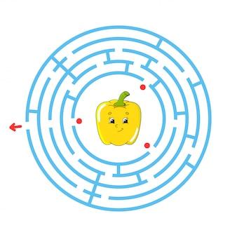 Labyrinthe bleu avec de jolis poivrons jaunes.