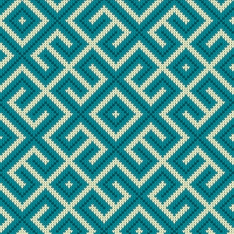 Labyrinthe bleu vintage tricoté sans couture
